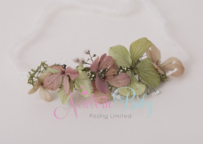 Delicate Floral Hair Tie - Green & Pink